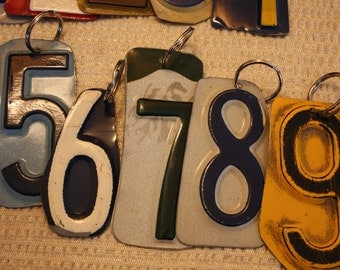 Vintage Reclaimed License Plate Number Keychains