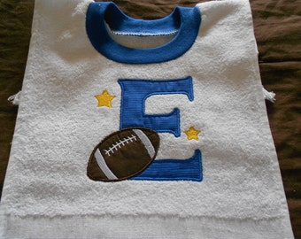 Initial With Football, over the head bib