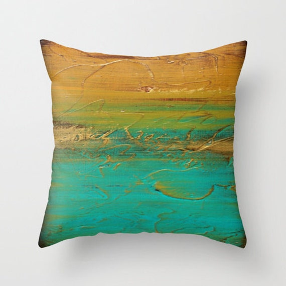 Modern Gold Pillows : Turquoise and gold Modern throw pillow Abstract by LizMosLoft