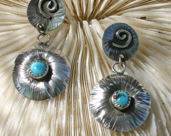 Sterling silver and turquoise earrings,  JS-er-007