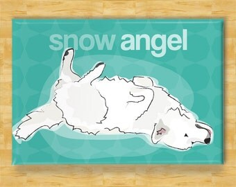 Great Pyrenees Magnet - Snow Angel - Great Pyrenees Gift Fridge Dog Refrigerator Magnets