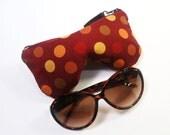 Burgundy Polka Dot Eyeglass Case, Sunglasses Pouch, Sunglasses Case, Zippered Eye Pouch