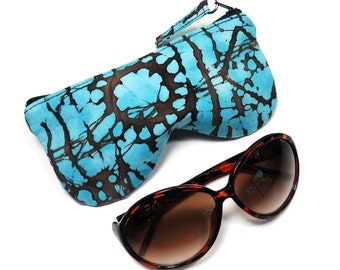 Blue Brown Batik Print Eyeglass Case, Sunglasses Pouch, Sunglasses Case, Zippered Eye Pouch
