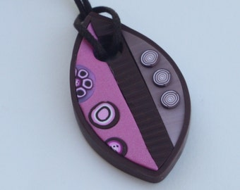 Long necklace with a leaf pendant in pink and brown, polymer clay