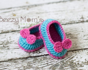 Download PDF crochet pattern b003 - Baby Mary Jane shoes with bow