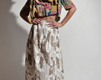 Vintage 1970s PLEATED Print Skirt SAFARI Giraffes Neutral Swing