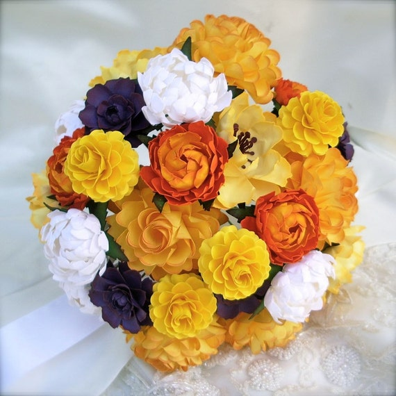 Yellow and orange - Paper Bouquet - Customize your Style and Colors - Made To Order