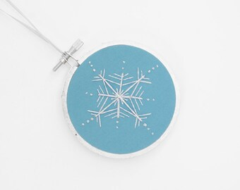 "CLEARANCE SALE: Silver and Blue Handmade Snowflake Embroidery Hoop Christmas Ornament or Winter Wonderland Holiday Decoration 3"" Hoop"