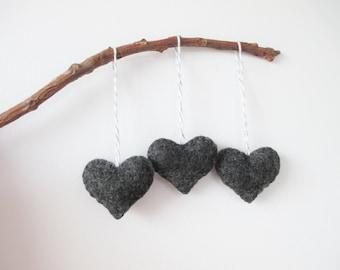Charcoal Grey Heart Eco Felt Ornament - Handmade - Valentine's Day - Christmas Tree Ornament - Holiday Decoration