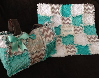 Custom made rag quilt diaper bag and quilt for baby boy or girl chevron print  pink aqua