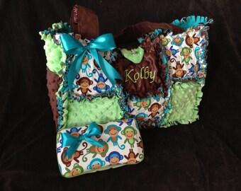 Custom monkey lime green and aqua minky diaper bag, handbag, purse, monogramming