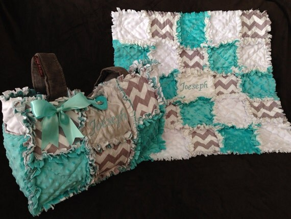 Custom made rag quilt diaper bag and quilt for baby boy or : rag quilt bag - Adamdwight.com