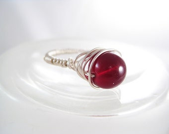 Argentium Silver Wire Wrapped Ring with Garnet Gemstone (January Birthstone)