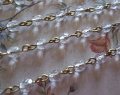 Transparent Crystal Clear 4mm Fire Polished Glass Beads on Brass Beaded Chain - Qty 18 Inch strand