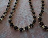 Rhinestone Chain Black Czech Crystal 3mm 24PP in Brass Setting - Qty 36 inch strand