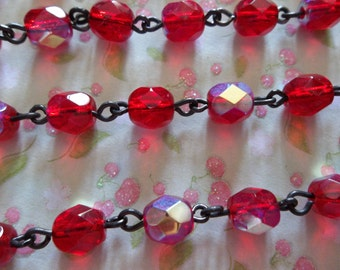 Bead Chain Ruby Red AB 6mm Fire Polished Glass Beads on Jet Black Beaded Chain - Qty 18 Inch strand