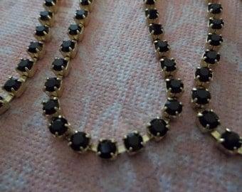 3mm Black Rhinestone Chain - Brass Setting - Jet Black Preciosa Czech Crystals