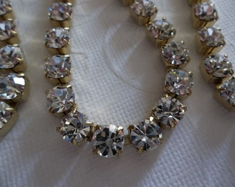6mm Clear Rhinestone Chain - Brass Setting - Crystal Clear Czech Crystals - Large Crystal Size 29SS