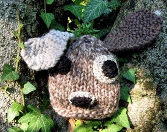 Eco-Friendly newborn hat Knit Baby Hats Newborn hat Animals Baby hat Baby accessories Organic Wool Little dog beige melange
