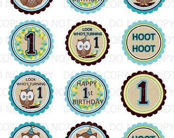 """Printable DIY Owl First Birthday Theme 2.5"""" Labels (Avery 5294 Template)"""