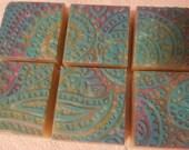 Blue Purple Green Vegan Lavender Palm Oil Glycerine Soap - 6 bars
