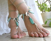 Barefoot sandles with gem stone and sea shells, Bohemian foot jewelry, Hippie barefoot sandals