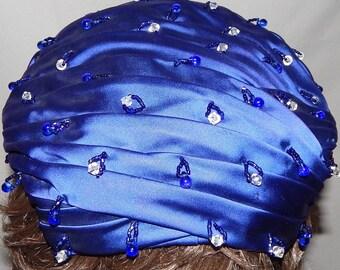Ladies Vintage Beaded, Blue Hat