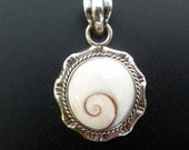 White Shell Pendant - Shiva Eye Shell Pendant - Handmade Sterling Silver and Shell pendant with Spiral