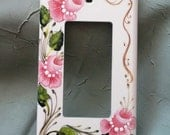 Shabby Cottage Rose Switch Plate Hand Painted Pink Rosemaling Single GFI Electrical Cover Outlet Cream White Tole Home Decor