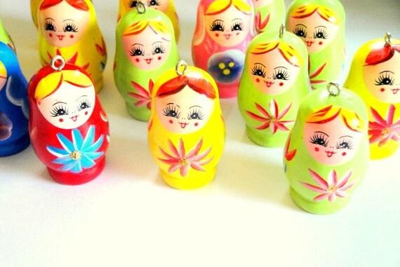 Wooden Matryoshka Russian Doll Pendants 14pc