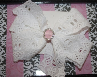 White Lace Hair Bow with Rhinestone Center