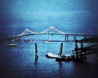 Aluminum Photo Panel: Newport Bridge on a summer night, Newport, RI,  8x10 Panel