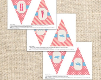 Horse/Pony Western Cowgirl Pennant Banner by FLIPAWOO  - Instant Download PDF File