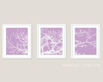 Magnolia Tree Branches - Wall Art Print Set - Purple Lavender Radiant Orchid - Modern Nature Art