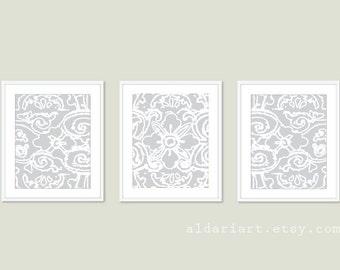 Abstract Flower Digital Print Set - Modern Triptych -  Light Grey Wall Art - by Aldari Art