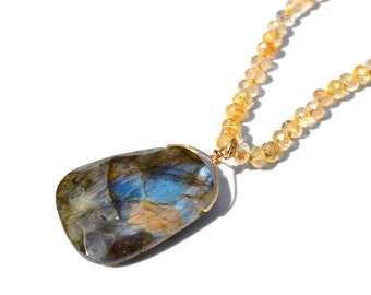 LP 984 Fiery Blue, Gold, Green Labradorite And Rutilated Quartz Hand Knotted Necklace