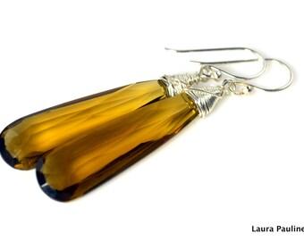 LP 1021  Elongated Faceted Cognac Quartz Briolette Earrings