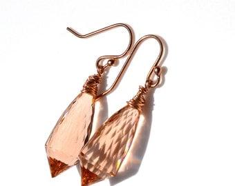 LP 1051  Peachy Pink, Quartz Earrings