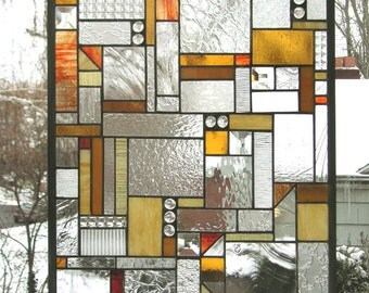 """Mission Style Geo Warm Tones- 18"""" x 24""""--Stained Glass Window Panel"""