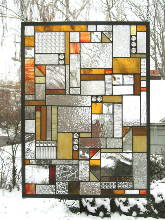 Mission style geo warm tones 18 x 24stained for 18x24 window