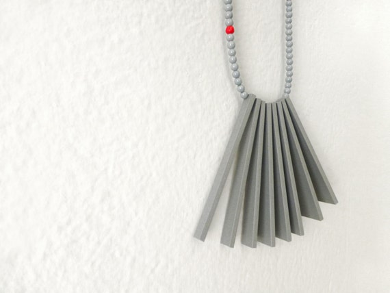 geometrical tribal necklace with grey sticks and beads - contemporary jewelry
