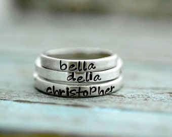 Personalized Hand Stamped Stacking Ring Band Names Dates in Sterling Silver-ONE Ring