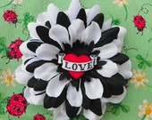 LOVE Heart White & Black Daisy Hair Flower