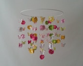 BRIGHT Pink Flower Daisy Butterfly Baby Mobile Colorful Butterfly Mobile 14 inch