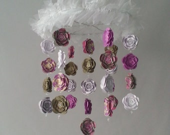 Medium Size Flower Baby Purple Gray and White Mobile