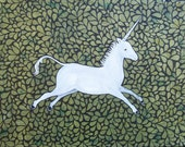 Unicorn Leafy Home Decor Wall Art Whimsical Animal Giclee Print