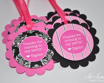 12 Favor Tags Birthday or Baby Shower  - Pink and Black Damask and Stripe - Birthday Decorations
