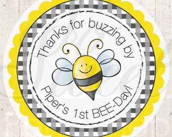 24 Birthday Favor Sticker Labels - Bumble Bee Birthday Party Decorations - Personalized