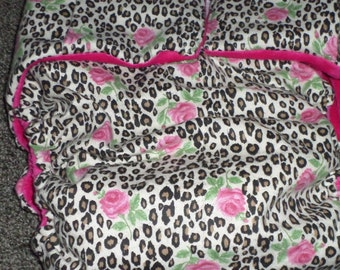 Adult Cloth Diaper, Day and Night Protection ,Leopard Print with Hot Pink Roses  Cloth Diaper    Buy 4 Get 1 Free AOL