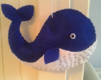 Big Happy Blue Whale Felt Ornament